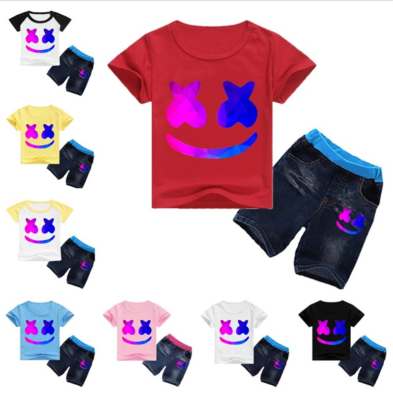 DJ Marshmallow Funny Children T shirt sets Summer Short Tops suit cute Marshmallow Clothes Marshmellow cosplay costume for kids