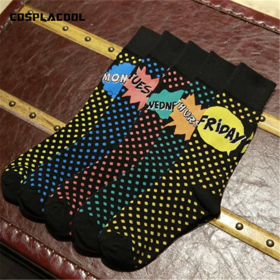 [COSPLACOOL] New fashion Week   socks   Lengthened Large size Men spring and summer point Letter   socks