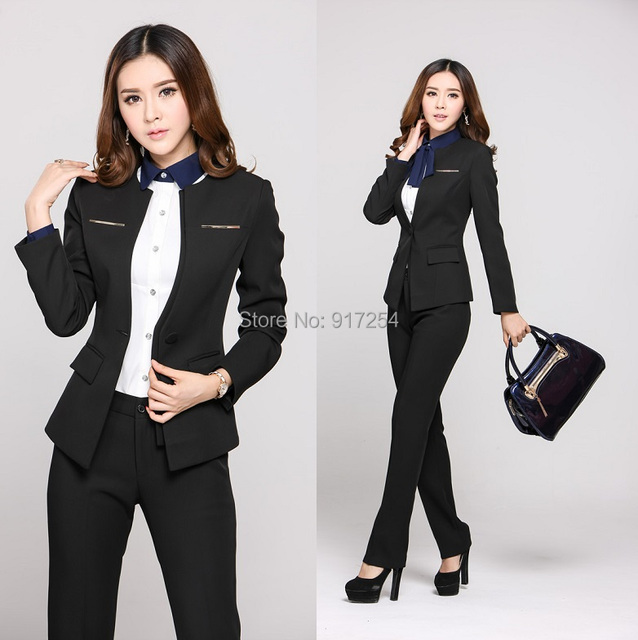 64dc2f91b67c1 New 2015 Autumn Winter Plus Size 4XL Professional Business Office Work Wear  Pant Suits Beautician Uniform Pantsuits Blazers Set-in Pant Suits from ...