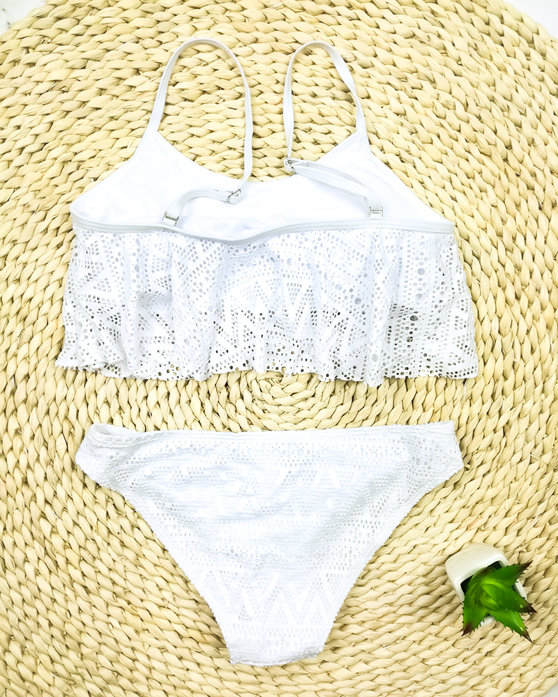 Push Up Solid Color Low Waist Lace Up Bikini Set