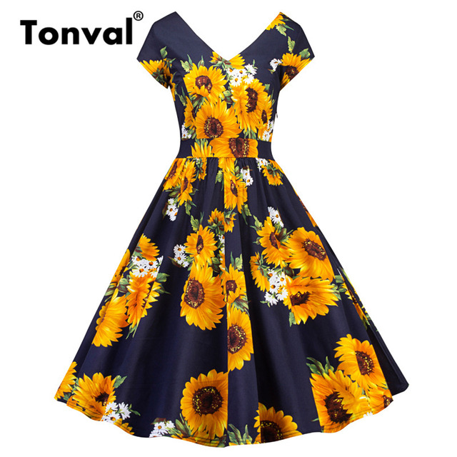 Tonval Vintage Sunflower Rockabilly Dress Retro Women Yellow Flower Short Sleeve V Neck Fl