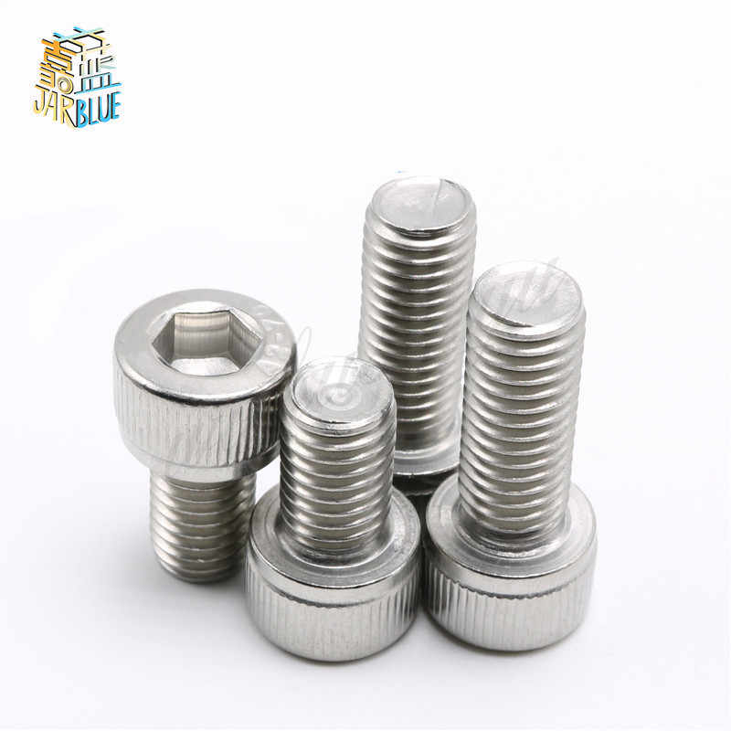 10/50/100pcs DIN912 M3 M4 M5 M6 M8 Metric Thread 304 Stainless Steel Hex Socket Head Cap Screw Bolts 4-50 mm