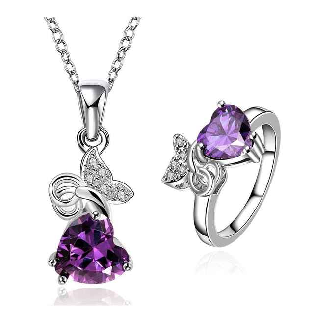 Girl jewelry Platinum Plated violet so beauty shine N+R fashion ...