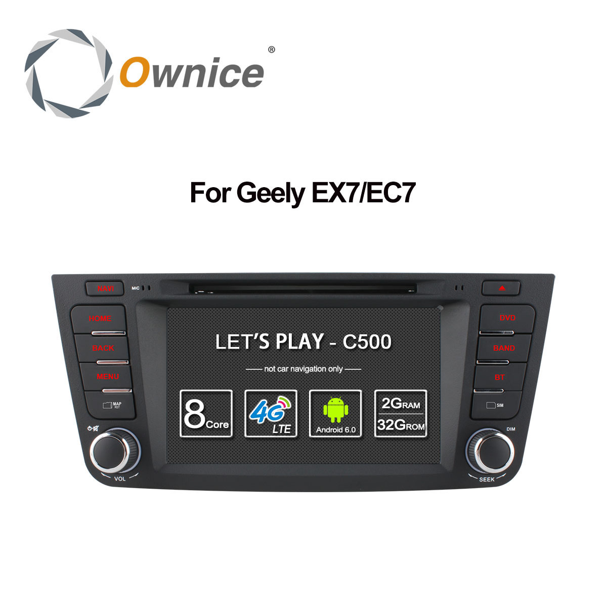 Lecteur DVD de voiture Ownice C500 Octa 8 Core pour Geely Emgrand GX7 EX7 X7 Android 6.0 Gps 2 din 2 GB RAM 32 GB ROM support 4G DAB +