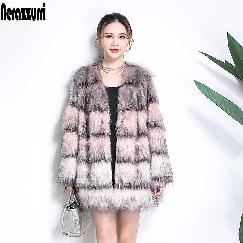4468574ee51 Nerazzurri Faux fur coat woman gradual color artificial fur coat furry  fluffy jacket winter plus size