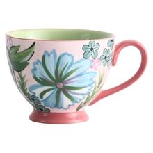 1PC 450ml Ceramic Coffee Cup Chinese Porcelain Mug Handpainted Breakfast Milk Oats Dessert Cups Couple Drinkware Utensils