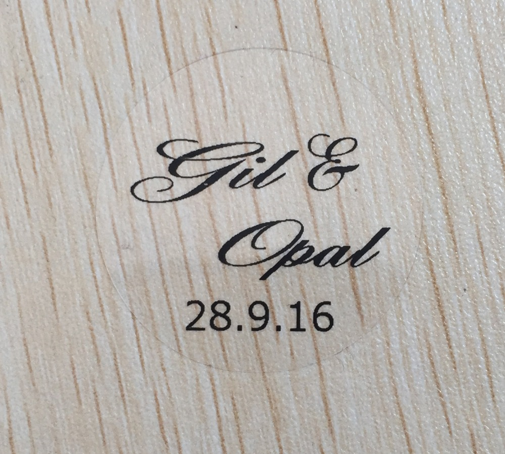 90pcs 3cm 5cm transparent Personalised text weddng stickers clear ...