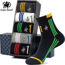 High Quality Fashion 5 Pairs/lot Brand PIER POLO Casual Cotton Socks Business Embroidery Mens Manufacturer Wholesale 2019