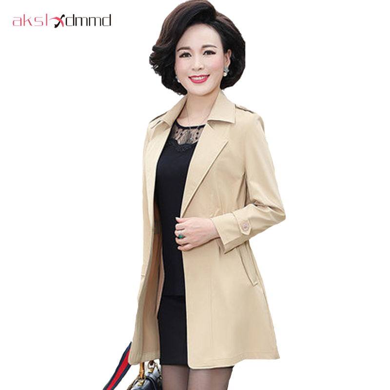 AKSLXDMMD Casual Clothes Spring Autumn Plus Size Lady Slim Long   Trench   Coat Middle-aged Women's Clothing Coat Female YR047