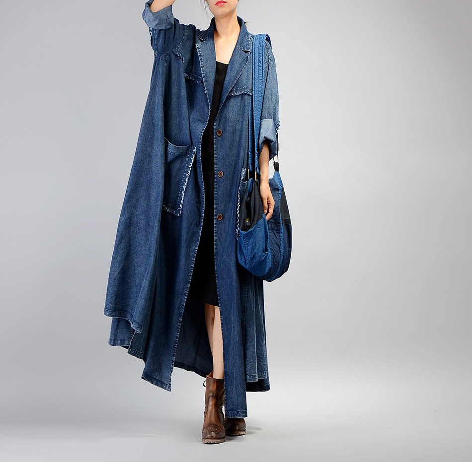 Women Plus Size Loose Irregular Denim Trench Coat Ladies Patchwork Retro Vintage Pockets Overcoat Outwear Female