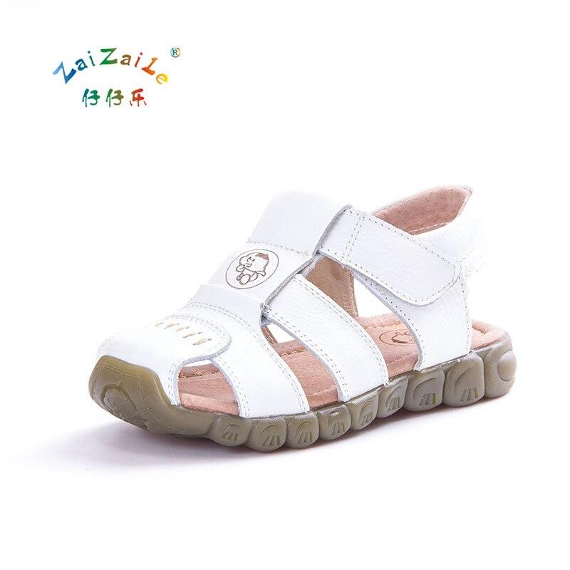Kids Genuine Leather Shoes Fashion Sport Sandal Summer Shoes Cutout Boys Sandals Children Leather Sandals Tenis Infantil KS69