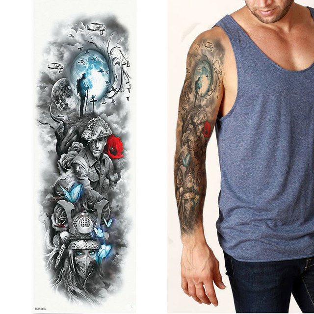 1 Sheets Full Arm Leg Extra Large Temporary Tattoos, Body Art For Men And Women - Wolf,Tiger,Bear,Warrior,Tribal Symbol 4