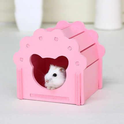 솔리드 우드 햄스터 하우스 귀여운 핑크 쥐 하우스 햄스터 케이지 하우스 작은 기니 돼지 cavies 흰 족제비 다람쥐 애완 동물 제품 zg0001