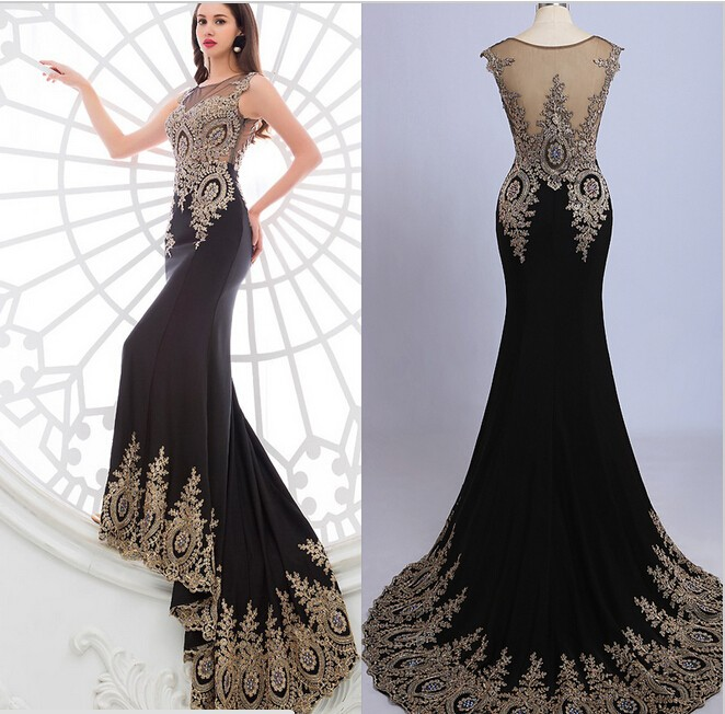 2015-Luxury-Scoop-Court-Train-Beaded-Chiffon-See-Through-Black-Red-Mermaid-Evening-Dress