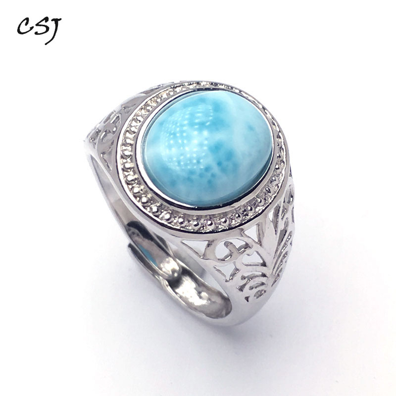CSJ New Style Natural blue Larimar rings sterling 925 silver Jewelry Wedding Engagement Party for Women Lady Girl GiftCSJ New Style Natural blue Larimar rings sterling 925 silver Jewelry Wedding Engagement Party for Women Lady Girl Gift