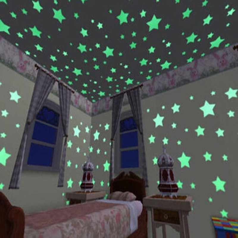 100 ชิ้น/ล็อต 3D Stars ส่องสว่างติดผนังสติกเกอร์ GLOW In The Dark สติกเกอร์สำหรับเด็กห้องนั่งเล่น Living Room Wall Decal โปสเตอร์ตกแต่ง