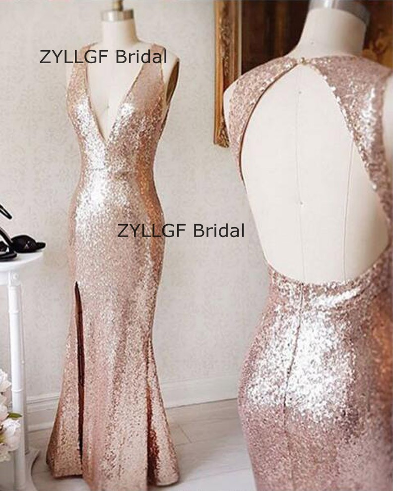 Zyllgf Bridal Sexy Deep V Neck Sequins Prom Dresses Long Floor Length Open Back Imported Party Dress Side Slit Prom Gown Sa440 Weddings & Events