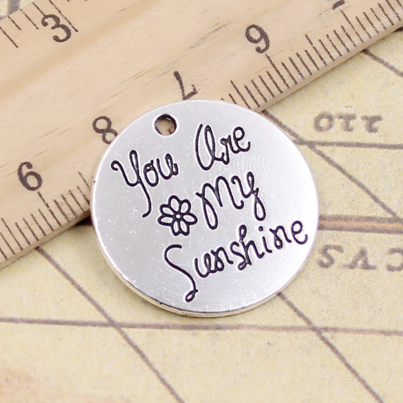 10pcs Charms Plates You Are My Sunshine 25x25mm Tibetan Silver Plated Pendants Antique Jewelry Making Diy Handmade Craft To Rank First Among Similar Products