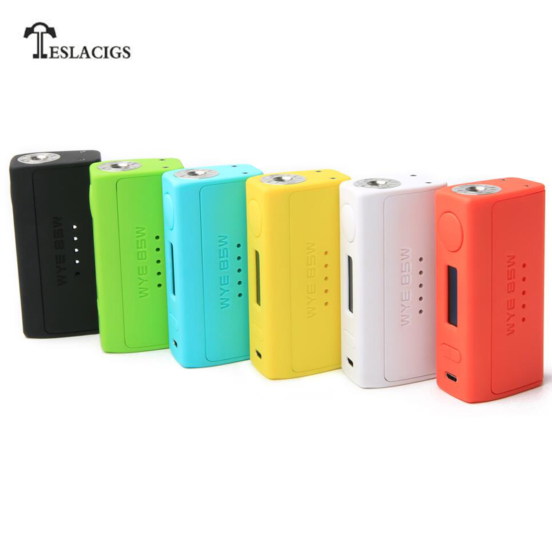 Original Teslacigs WYE 85W Box Mod Vaporizer Ergonomic Design fit 18650 Battery Electronic Cigarette Mod with 6 Colors цена