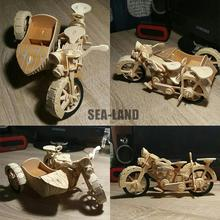 A Kids Toys Of 3d Puzzle Wooden For Children Motorcycle Sidecar Best Montessori Educationaly Diy Toy As Gift