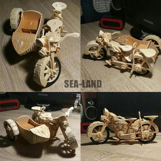 Un Enfants Jouet De 3D En Bois puzzle pour enfant Moto Side-Car Un Meilleur Montessori Educationaly bricolage Jouet Comme Un Cadeau de Passe-Temps Pour famille
