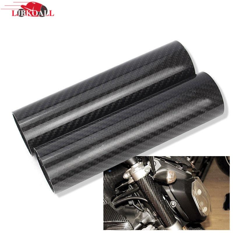 LJBKOALL 2Pcs Motorcycle Real Carbon Fiber Front Fork Tube Slider Cover Shockproof for Yamaha MT 07 FZ 07 MT07 FZ07 2014-2018 стоимость