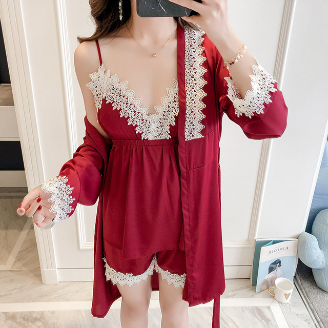 2019 New Women Pajamas Set Sleepwear Satin Floral Trim Pyjamas Suit V-Neck  Cami+Pants+Robe Nightwear Kimono Bath Gown M-XL d481253d2