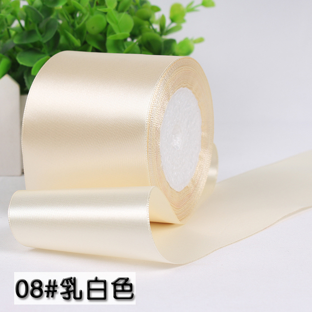 25 yardas/rollo) 80mm beige crema seda cinta de satén boda ...