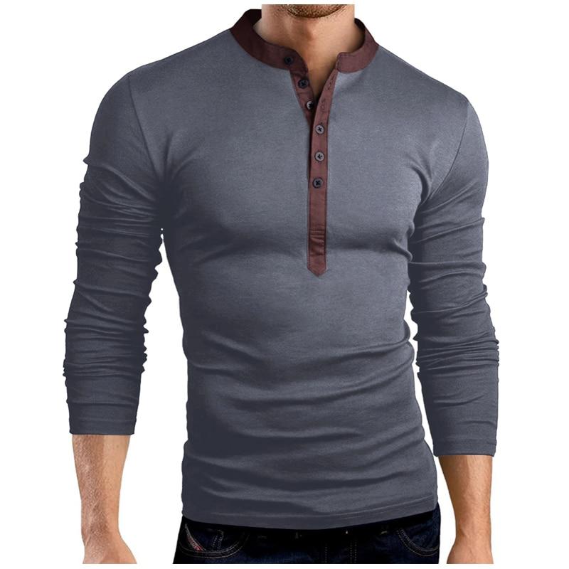New Men Henley Shirt 2017 New Tee Tops Long Sleeve Stylish