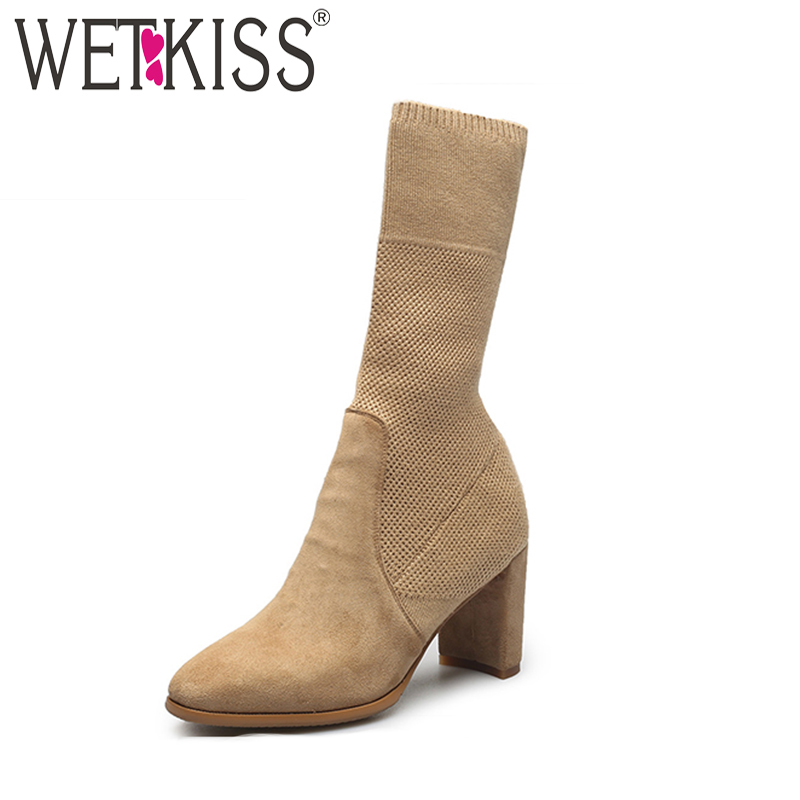WETKISS 2018 Fashion Stretch Fabric Sock Boot Genuine Leather Slip on High Heels Shoes Woman Short Autumn Boots Winter FootwearWETKISS 2018 Fashion Stretch Fabric Sock Boot Genuine Leather Slip on High Heels Shoes Woman Short Autumn Boots Winter Footwear