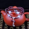 Natural garnet stone beaded mala bracelets for women tibetan rosary prayer beads treasure gourd agate stone pendant