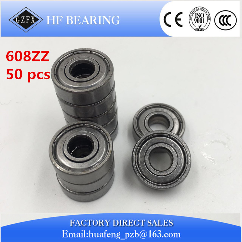 где купить  Free Shipping 50pcs/lot 608 ZZ 608ZZ ABEC-5 8X22X7 608Z Miniature Deep Groove Ball Radial Ball Bearings 3D printer  по лучшей цене