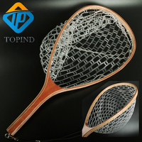 1PC Fishing Fly Fishing Trout Net Rubber with Wood Landing Mesh Basket TOPIND fishing tackle