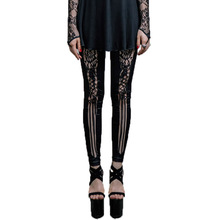 Steampunk Black Lace Leggings Gothic Leather Pants Women's Winter Street Personality High Waist Capris Large Size 4XL 2016