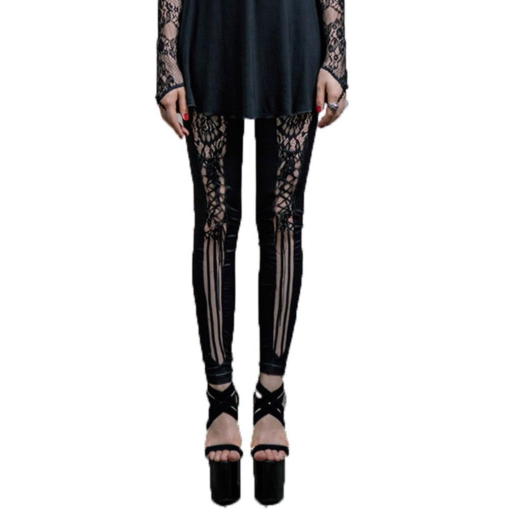 Steampunk noir Leggings femme pantalon gothique Faux cuir pantalon 2017 Street persoanlité pantacourt pantalon plafones Mujer