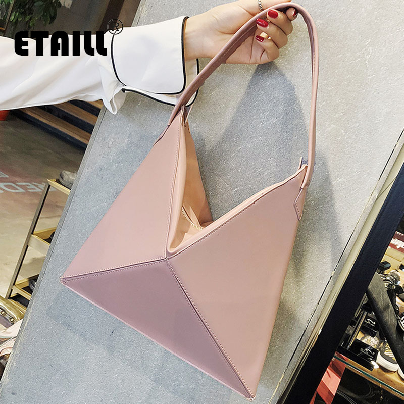 ETAILL Cool Triangle Solid Shoulder Bags Hobos Designer Bags For Women Fashion Ladies PU Leather Single Shoulder Fold Over Bags princess sissi ladies shoulder bags for women 2017 new fashion cartoon character crossbodybags for ggirls black pu leather bags