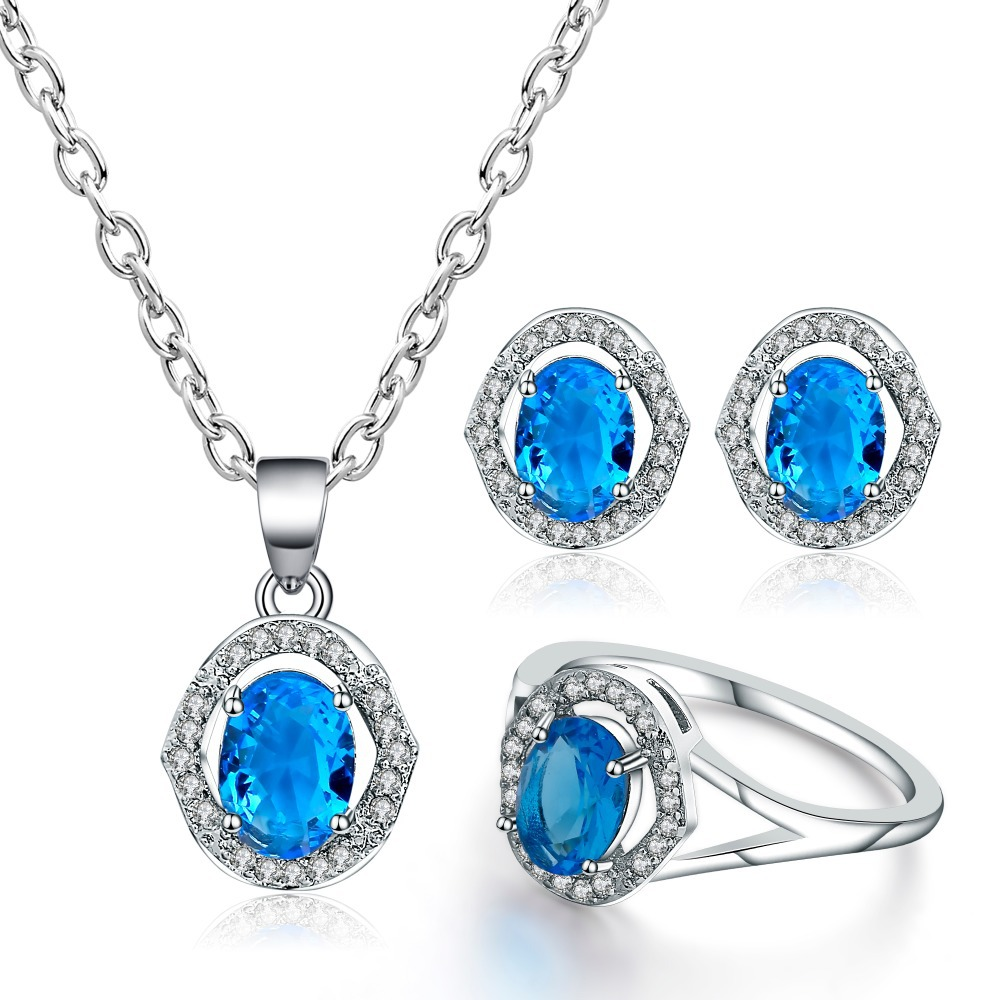 CBO13  S925 silver plated exquisite bride zircon series necklace earrings set wedding jewelry wedding dress jewelryCBO13  S925 silver plated exquisite bride zircon series necklace earrings set wedding jewelry wedding dress jewelry