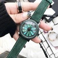 2019 למעלה איכות יוקרה ליידי קריסטל שעון נשים שמלה שעון. קטיפה אמיתי עור סיבוב שעונים ירוק נקבה שעוני יד