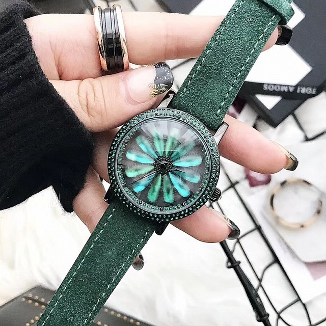 2019 Top Quality Luxury lady Crystal Watch Women Dress Watch.Plush Genuine Leather Rotation Watches Green Female Wristwatches