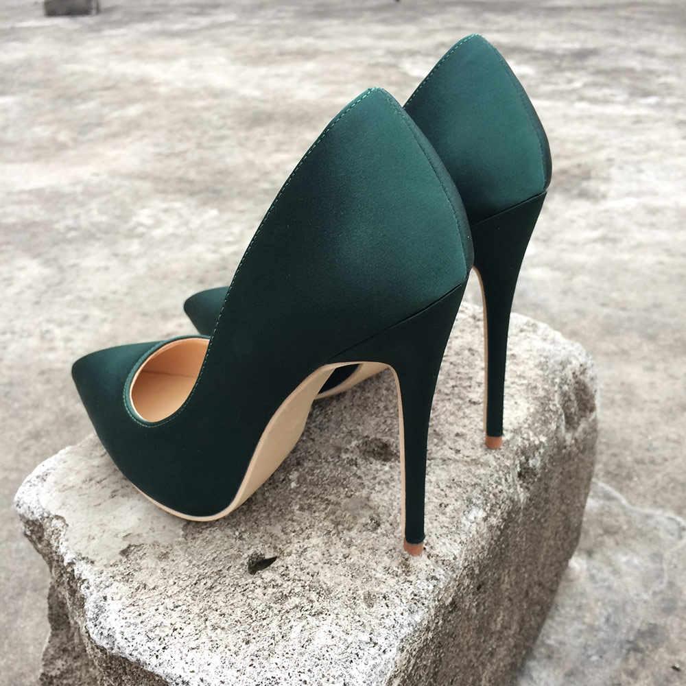 Veowalk marka jedwabiu górna kobiety Sexy wysokie obcasy elegancka dama szpiczasty nosek pompka imprezowa kobieta wygodna sukienka buty dostosowane zaakceptować