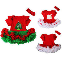 2016 Xmas Newborn Baby Girls Romper Jumpsuit Tutu Dress Headband Children Chritmas Clothes Outfits Set Costume