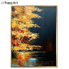 Handmade Amazing Art Knife Oil Paintings on Canvas Gold Yellow Tones Combined Such Light Bloom Tree Landscape Hang the Wall