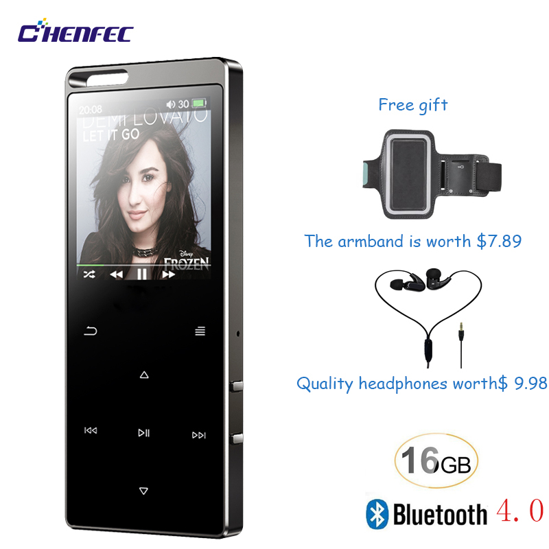 Touch Button 16GB Bluetooth 4.0 HiFi Digital MP3 Music Player Lossless Mini Portable Audio with FM Radio Free Gift Mp3