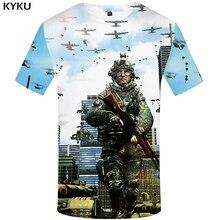 KYKU Brand Military T-shirts Men War T shirt 3d Character Print Tank Tshirt Homme Russia Tshirts Casual Short Sleeve Graphic