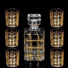 Yüksek kaliteli kristal cam şarap bardak altın viski bardağı fincan yaratıcı cam kırmızı şarap şişesi brendi bardak seti barwarer ev drinkware