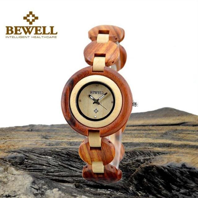 BEWELL Wood Watch Vintage Bamboo Design Women Watches Exquisite wooden Ladies Quartz Watch Clock Wristwatch With Gift Box 010A