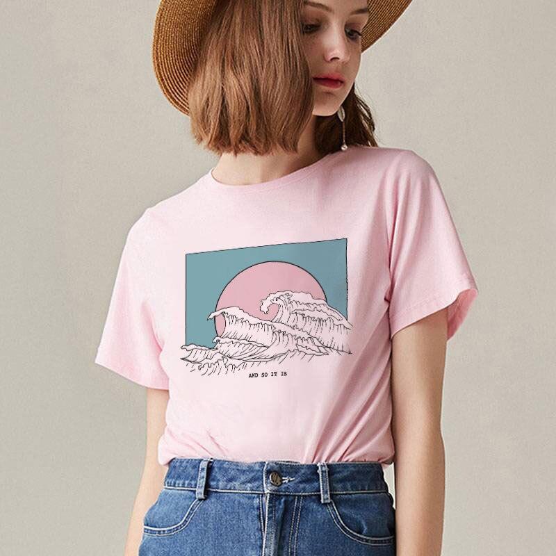 Kawaii femmes coréennes mode grande vague imprimer Blouses Harajuku grande taille rose haut blanc chemise Streetwear à manches courtes dames hauts