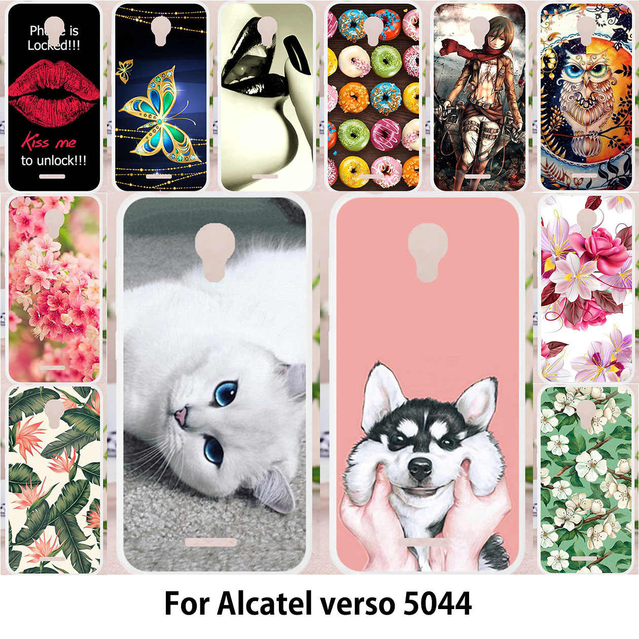 TAOYUNXI Case For Alcatel 5044R Verso idealXCITE Cameo X 5044R Raven LTE  A574BL Cover Silicone Paint Cases Cat Animal Patterned
