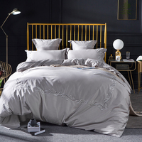 Egyptian cotton High grade embroidery silver,pink Bedding Sets Bed Sheet Queen King size 4/6pcs