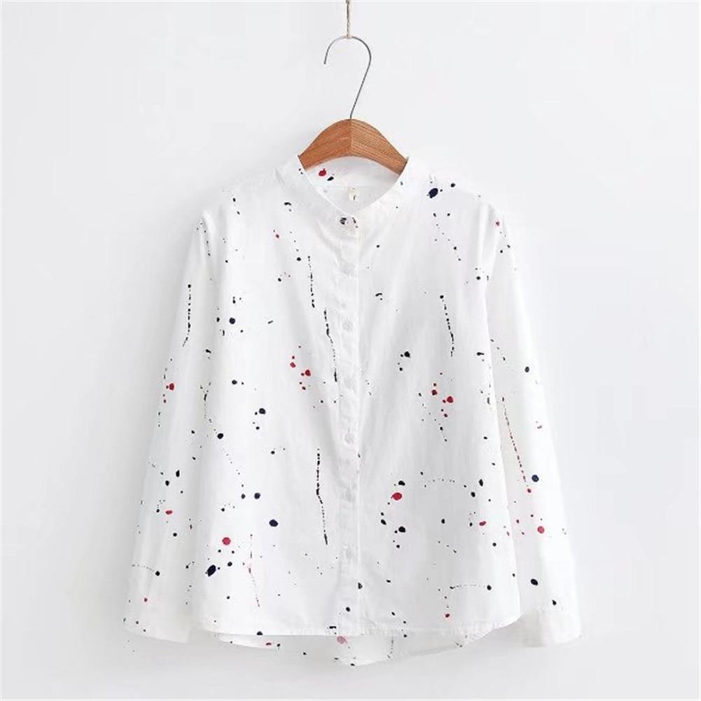 2019 Hot Sales Long Sleeve Button Women Shirt Cotton Print Small Shirts Motifs Spots Paints Upright Collar Fresh Nuance Tops